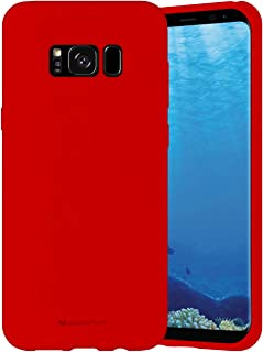 Goospery Liquid Silicone Case for Samsung Galaxy S8 Plus (2017) Jelly Rubber Bumper Case with Soft Microfiber Lining (Red) S8P-SLC-RED