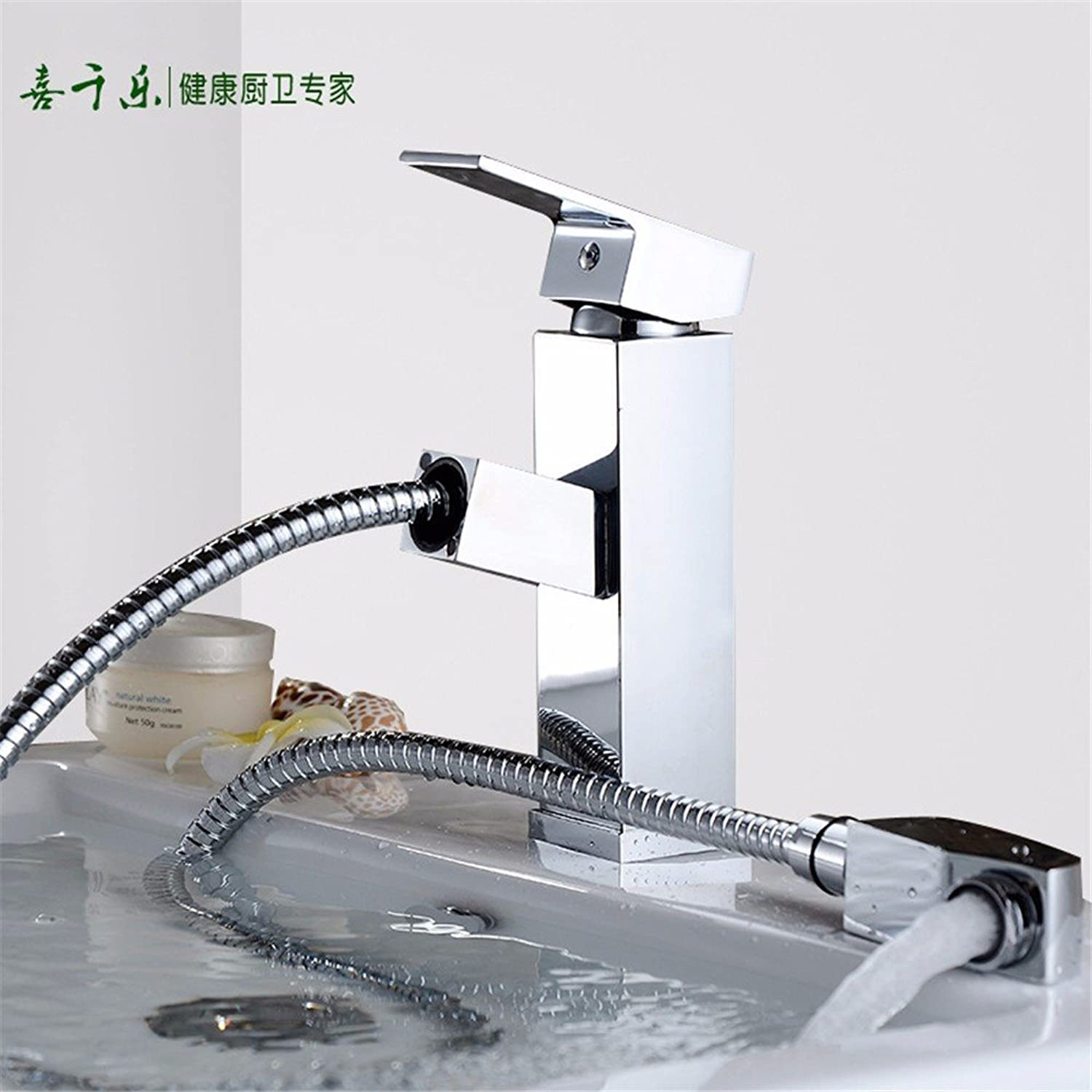 Hlluya Professional Sink Mixer Tap Kitchen Faucet All copper pull-down faucet single handle single hole hot and cold basin tap square telescoping shampoo Faucet