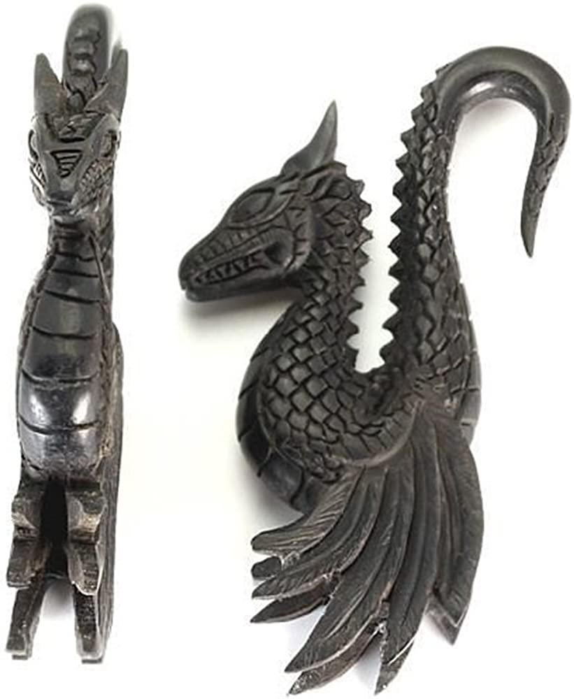 GEORGEOUS Detailed Dragon Wholesale Areng Wood Hanger Organic Body Jewelry 4mm - 10mm - Price Per 1