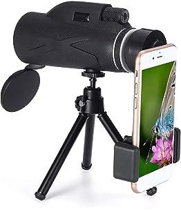 Monocular Telescope, HD 80 x 100 Waterproof Monocular Telescope with Smartphone Adapter Tripod, Great, for Adult Bird Watc...