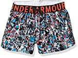 Under Armour Girls' Play Up Printed Workout Gym Shorts , Black (001)/Metallic Silver , Youth X-Large