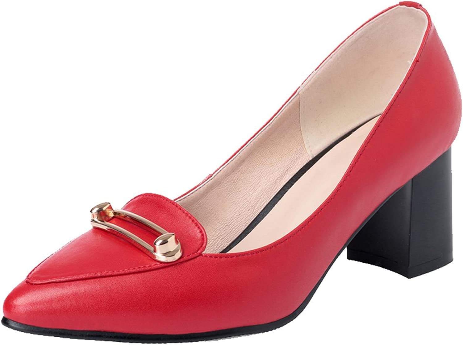 Dethan Women's Genuine Leather Pointed Toe Chunky Heel Pumps Court shoes