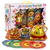 Liberty Imports Colorful Fruit Tin Tea Party Set for Kids - Metal Teapot and Cups Kitchen Playset