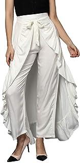 StyleStone (3403WhtSkirtPants) Women's Rayon White Skirt Pants