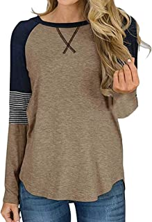 Macondoo Womens Contrast Color Casual Blouse Round Neck Long Sleeve T-Shirts