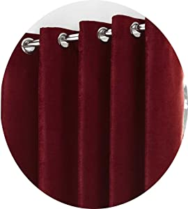 "66"" x 72"" Picasso Wine Curtains, Lined Eyelet / Ring Top, Luxurious Chenille Effect Finish, Burgundy Red"