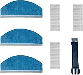 Amrobt Robot Robotic Vacuum Cleaner Replacement Parts Pack of Main Brush, Side Brush, Filter, Mop Cloth,Cleaning Brush (3+3+1)