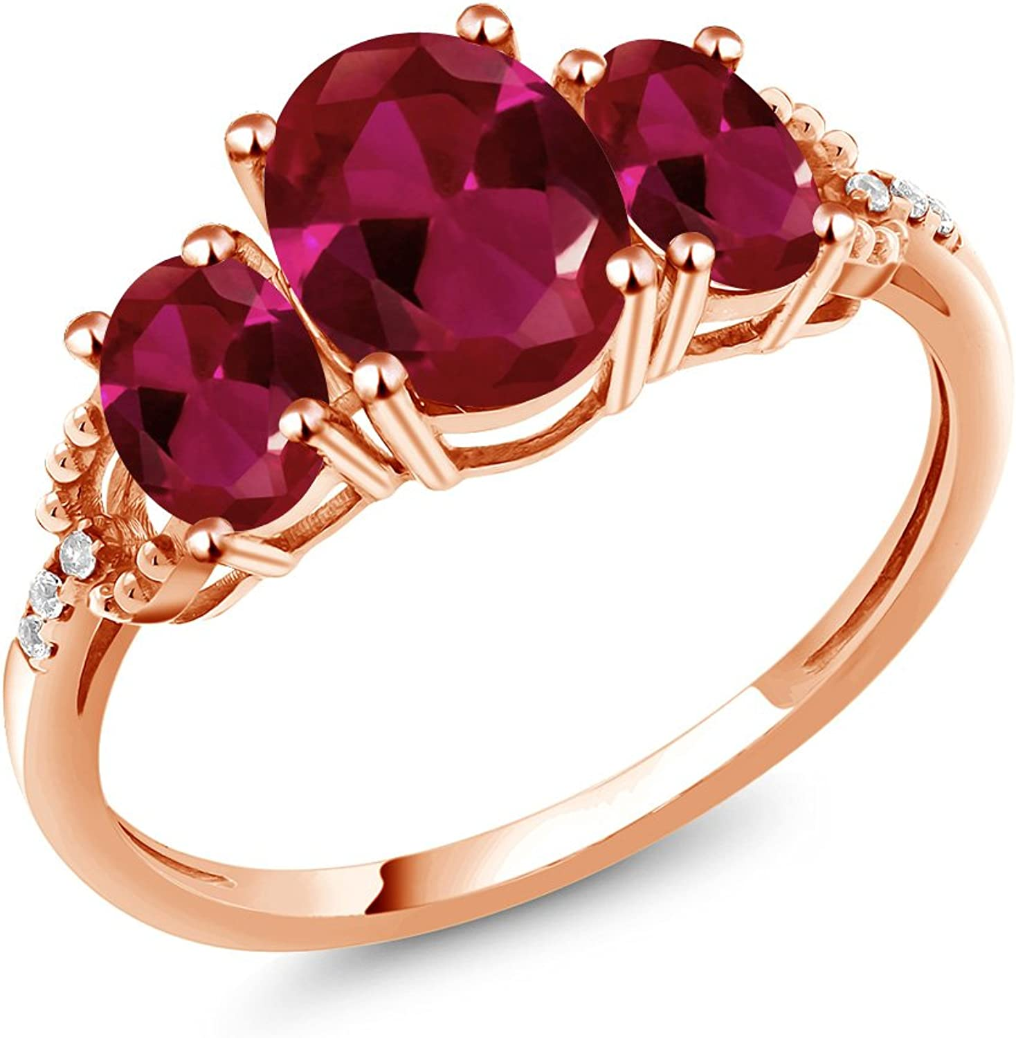 2.19 Ct Oval Red Created Ruby 10K pink gold Diamond Accent Ring