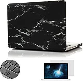 Macbook Pro 13 Case, Topinno Hard Case Print Frosted for MacBook Pro 13 inch (Model: A1278) - Black/White Marble Pattern Rubber Coated Hard Shell Case Cover&Free Keyboard Cover Skin&Screen Protector