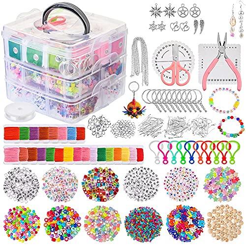 Souarts Juego para hacer joyas con alicates, cuentas de joyería para la reparación de joyas, collares, pendientes, pulseras, regalo para niñas y mujeres