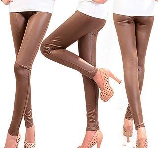 KBUBHN Pantalones de Cuero, 2020LeggingsSexy de café Negro paraMujer, Pantalones de Talla Grande para niña, Leggings ...