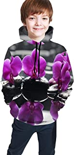 Cyloten Kid's Sweatshirt Calm Orchid Flower Purple Hoodie Teen's Sportswear Fleece Hood for Fall-Winter
