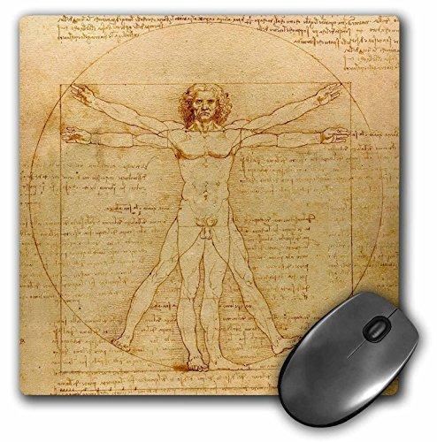3dRose 8 x 8 x 0.25 Inches Mouse Pad, Vitruvian Man by Leonardo Da Vinci 1490, Fine Anatomical Art, Human Anatomy Pen and Ink Drawing...