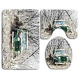 N\A Original Digital 's Vintage Jeep Print 3 Piezas Alfombra de baño Set Contour Mat Funda de Asiento de Inodoro
