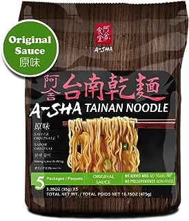 Asha Healthy Ramen Noodles, Thin Size Tainan Noodles, Original Sauce Flavor, 5 Pouches Per Servings, 3.35 Ounce (95 grams), Pack of 1