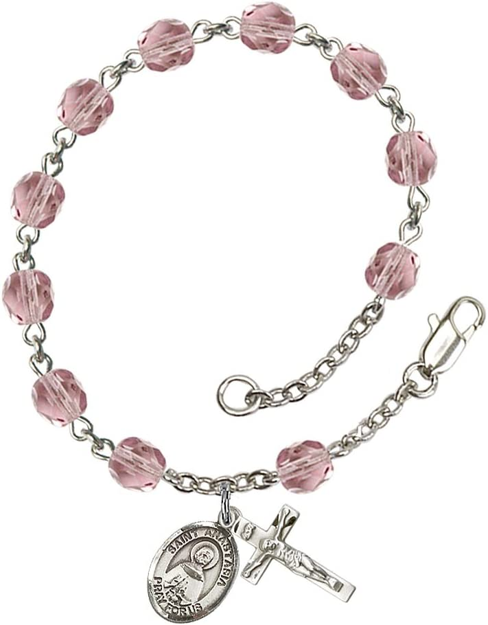 Silver Plate Rosary Bracelet Features Max 87% OFF Max 60% OFF 6mm Pol Lite Fire Amethyst