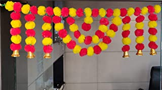 CraftVatika Marigold Fluffy Flower Garlands Toran Bandarwal with Hanging Bells Set for Main Door Wall Hangings Diwali Deco...