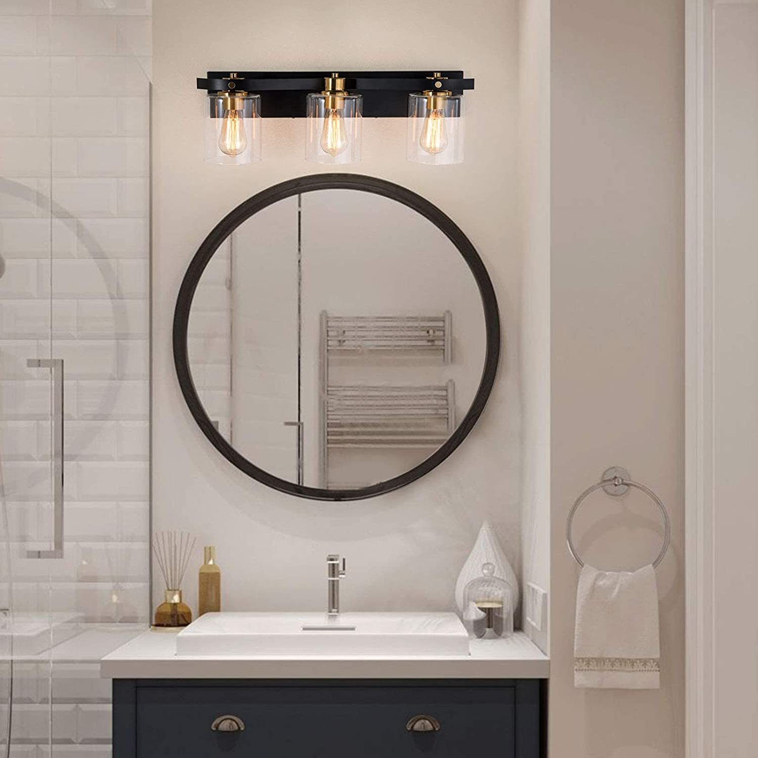 Buy Modern Bathroom Light Fixtures Linour Bathroom Vanity Light Fixtures Bathroom Lighting Over Mirror With Clear Glass Shade Up Down Light Direction Industrial Light Fixtures For Bathroom No Bulbs Hellip Online In Indonesia B08lv9l3ts