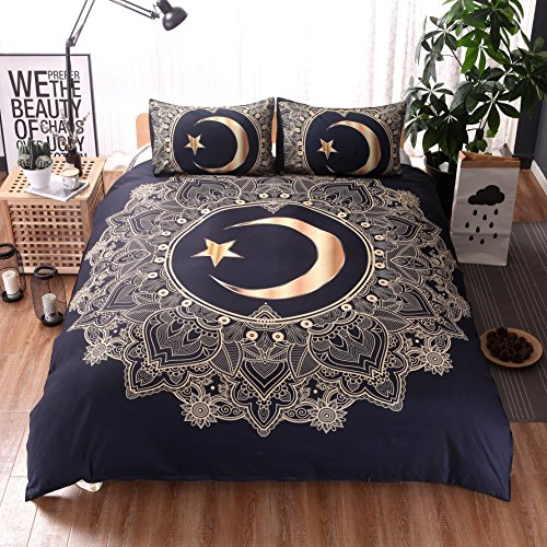USTIDE King Duvet Cover Sets, Moon&Star Bedding Sets, Includes: 1x King Size Duvet Cover and 2x Pillowcases