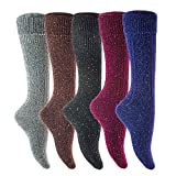 Lian LifeStyle Women's 5 Pairs Exceptional, Non-Slip, Cozy and Cool Knee High Wool Socks HR1412 Size 6-9 (w/o Coral)