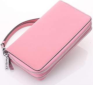 Leather Women's Wallet Cross-Grain Leather Double Zipper Hand Purse Multi-Function Key Wallet Waterproof (Color : Pink, Size : S)