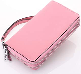 Leather Women's Wallet Cross-Grain Leather Double Zipper Hand Purse Multi-Function Key Wallet Waterproof (Color : Pink, Size : S)