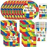 Bloques de construcción únicos para fiestas de cumpleaños | servilletas para almuerzo, bebidas y platos de cena y postre, cubierta de mesa, tazas | ideal para fiestas temáticas de lego/rompecabezas