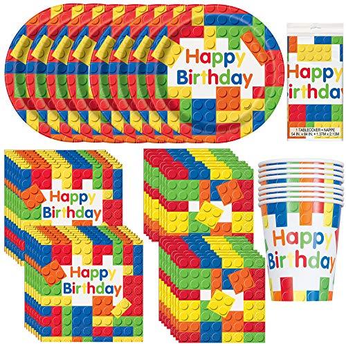 Bloques de construcción únicos para fiestas de cumpleaños   servilletas para almuerzo, bebidas y platos de cena y postre, cubierta de mesa, tazas   ideal para fiestas temáticas de lego/rompecabezas