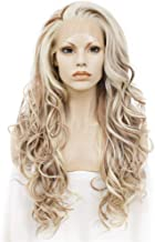Imstyle Chocolate Blonde Lace Front Wigs Long Wavy Synthetic Wig For Women Thick Soft Heat Resistant Hair Wig With Natural Hairline Part Freely 24 Inch (Honey Blonde)