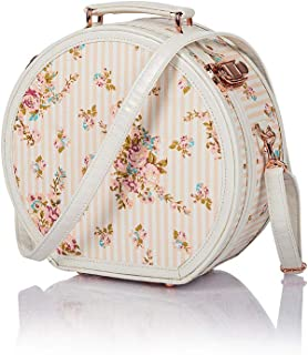 COTRUNKAGE Small Round Hat Box Carry On Luggage Bag (Small, Beige Floral)