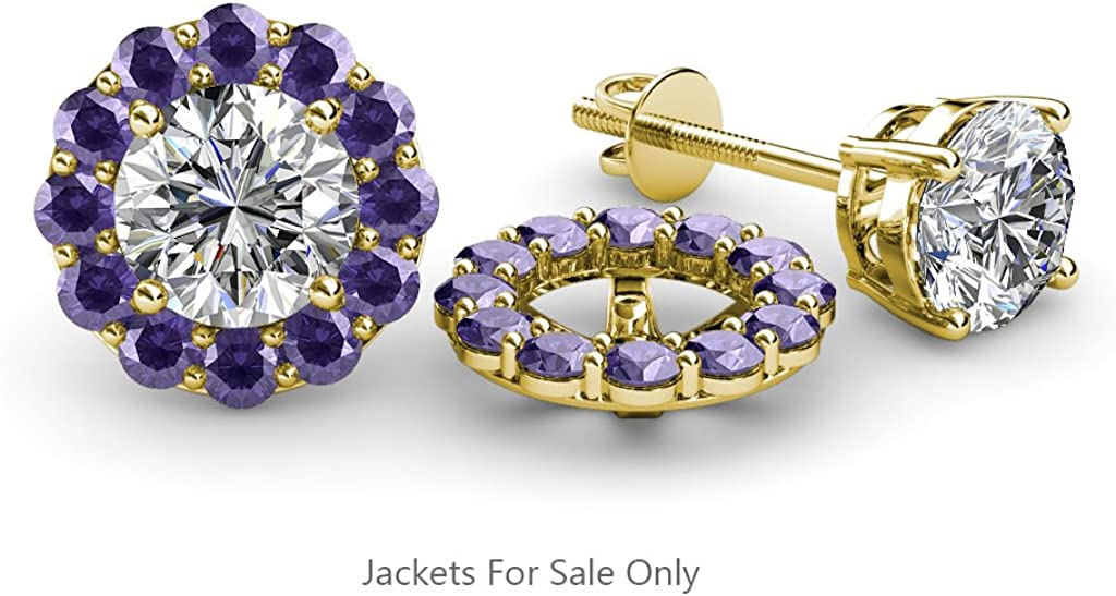 TriJewels Iolite Halo Jacket for Stud Earrings 0.72 ct tw in 14K Yellow Gold