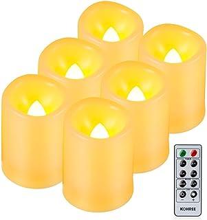 揺らぐ炎! 深い波形フレームレスキャンドル 6個セット リモコンとタイマー付き アイボリー蝋燭灯