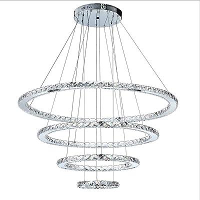 Lámpara LED Moderna, iluminación de Cristal K9 Redonda simplePersonalidad Estilo Sala de exposiciones Lámpara de decoración de Escenario 3 Colores Ajustable,fourcircles