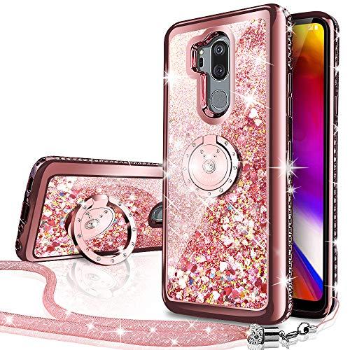Miss Arts Funda LG G7, Funda LG G7 ThinQ, [Silverback] Carcasa Purpurina con Soporte Giratorio de 360 Grados, Transparente Cristal Telefono Fundas Case Cover para LG G7 ThinQ -RD