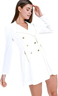 Mirabell Women's Double Breasted Zip Up Trench Pea Coat