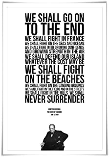 Winston Churchill Quote Art Print. 3 Sizes. Fight on the Beaches Speech. World War Two Poster. British History. WWII Histo...