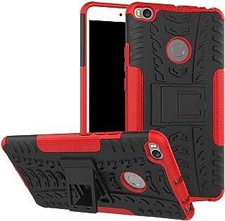 Ikwcase Xiaomi Mi Max 2 Case, Heavy Duty Armor Tough Hybrid Shockproof Dual Layer Kickstand Protective Case Cover for Xiaomi Mi Max 2 Red