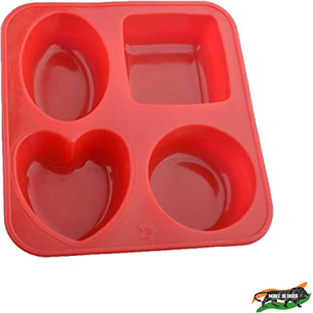 ZooY Silicone Circle, Square, Heart and Oval Shape Chocolate Soap Mould Baking Mould Soap ( Multi-Color , Pack of 1)