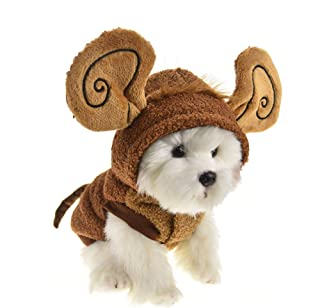 MuYaoPet Halloween Dog Monkey Costume with Big Ear Winter Fleece Pet Coat with Hood Cat Clothes for Bulldog Chihuahua Yorkie
