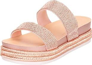 Cambridge Select Women's Two-Strap Slip-On Glitter Crystal Rhinestone Espadrille Flatform Slide Sandal