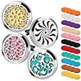 4PCS Car Aromatherapy Essential Oil Diffuser Stainless Steel Locket Magnetic Closure Locket with 44 Refill Pads