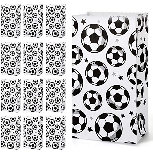 30 Pack Paper Soccer Party Favor Bag Candy Goodie Treat Bags Soccer Print Gift Bags for Football Themed Party Favors