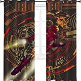 Iron Man Comic Poster Avengers Comic Art Kids Blackout Curtains Grommet Thermal Insulated Room Darkening 54' W x 72' L