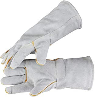 "Work Leather Gloves Warm and Velvet Durable Long Protective Gloves,13"" (Color : White, Size : L)"