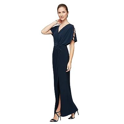 Alex Evenings Long Knot Front Dress (Navy) Women