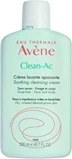 Eau Thermale Avene Clean-Ac Soothing Cleansing Cream, Face Wash, Adjunctive Care for Drying Acne Treatments, 6.7 oz.