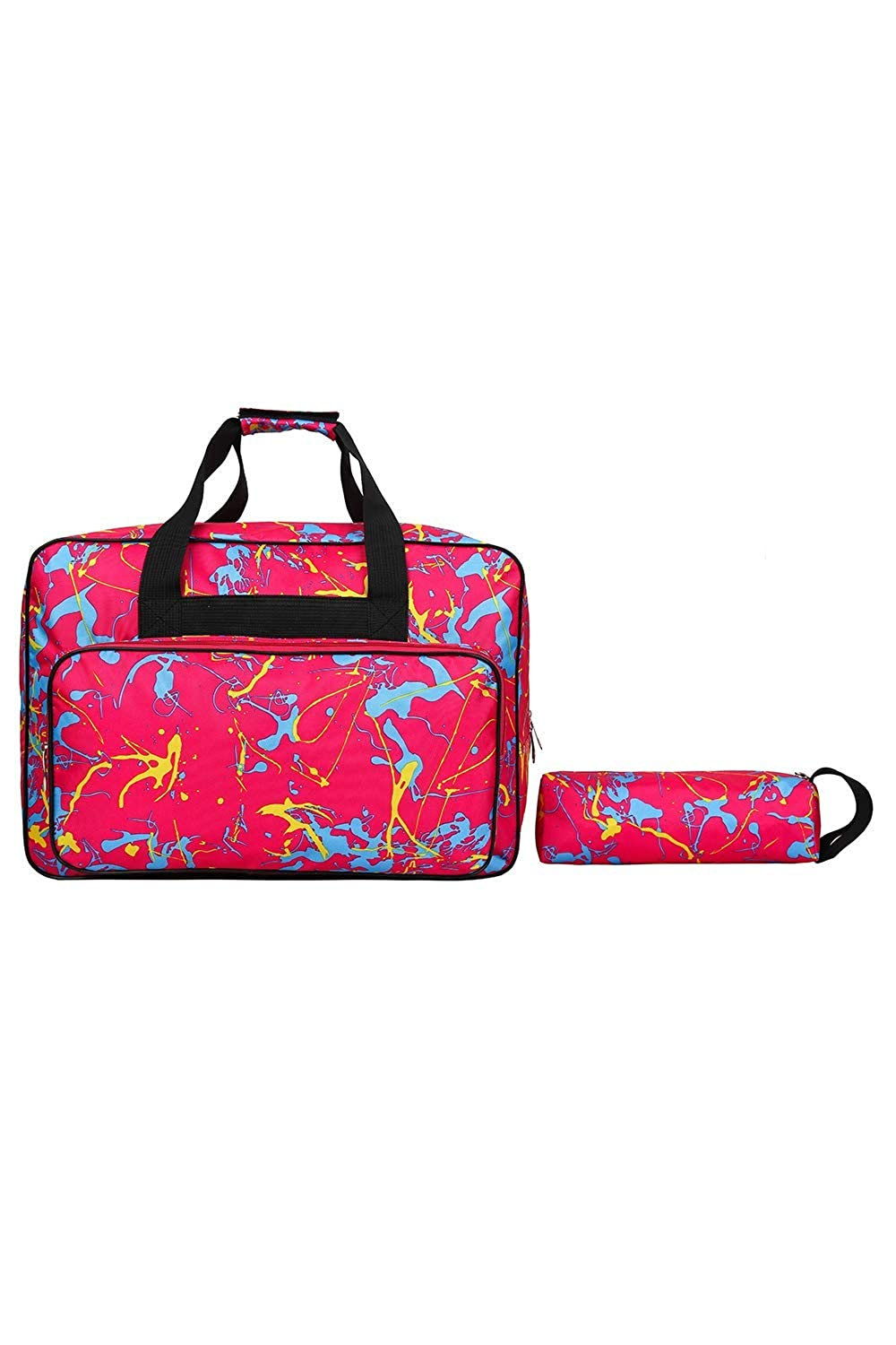 Sewing Machine Carrying Case Tote/Bag Universal - Padded Storage Cover Carrying Case with Pockets and Handles - Nylon Sewing Machine Case Fits Most Brother & Singer Sewing Machines (Pink)