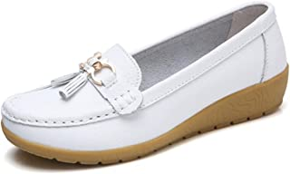 022412abef6 Women Loafers Leather Oxford Slip On Walking Flats Anti-Skid Boat Shoes