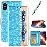 Coque pour iPhone XS Max Housse en Cuir,Flip Case Coque à Rabat Magnétique Fermeture éclair...