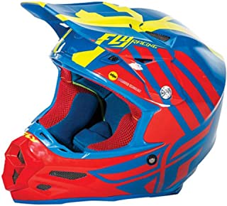 Fly Racing F2 Carbon MIPS Zoom Helmet Blue/Red/Hi Vis Yellow (Blue, Small)